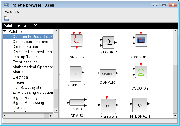 xcos block diagram editor and gui for the hybrid simulator. Black Bedroom Furniture Sets. Home Design Ideas